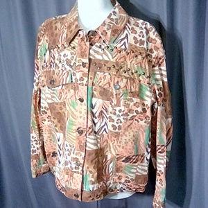 Stonebridge abstract  print jean jacket size XL